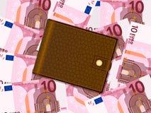 Plånbok på bakgrund för euro tio vektor illustrationer