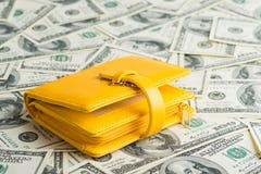 Plånbok som vilar på många Förenta staterna hundra dollar Arkivbilder