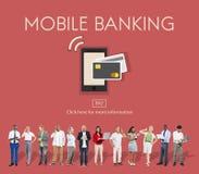 PlånbokE-bankrörelsen för online-bankrörelsen mobilt begrepp arkivfoton