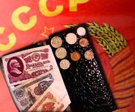 Plånboken, pengarna, mynten & sedlarna USSR Royaltyfri Foto