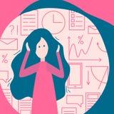Pléthore de l'information au bureau, affaires Femme et beaucoup de illustration de vecteur