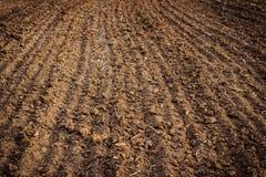 Plöjt fält, övre för jord nära jordbruks- bakgrund Arkivbild