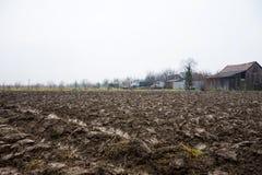 Plöjt fält som är klart för nya skördar Arkivfoto
