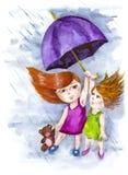 Plötsligt regn Arkivfoton