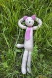 Plüsch strickte die Katze, die im Gras sich entspannt und liegt Lizenzfreies Stockfoto