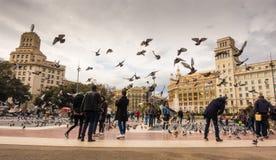 Plaça de Catalunya en la ciudad de Barcelona Fotos de archivo