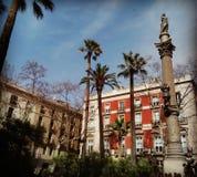 Plaça Duc de梅迪纳塞利在巴塞罗那西班牙 免版税库存图片