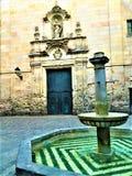 Plaça Sant Felip Neri Historiskt hörn av Barcelona, tid, det romantiska hörnet och skönhet royaltyfria bilder