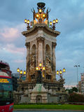 Plaça d'Espanya在巴塞罗那 库存照片