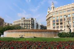 Plaça de Catalunya - Barcellona, Spagna Fotografia Stock Libera da Diritti