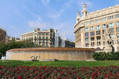 Plaça de Catalunya - Barcelona, Spanien Royaltyfri Foto
