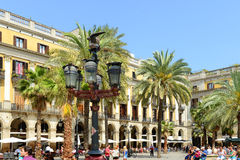 Plaça Reial, vecchia città di Barcellona, Spagna Fotografie Stock