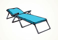 plażowego krzesła lokalizować kurortu nadmorski Wektorowy freehand rysunek royalty ilustracja