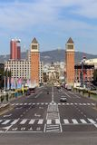 Plaça d`Espanya. Also known as Plaza de España in Spanish, is one of Barcelona`s most important squares, built on the occasion of the 1929 International Stock Photo