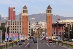 Plaça d`Espanya. Also known as Plaza de España in Spanish, is one of Barcelona`s most important squares, built on the occasion of the 1929 International Stock Images