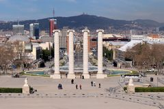 Plaça d`Espanya. Also known as Plaza de España in Spanish, is one of Barcelona`s most important squares, built on the occasion of the 1929 International Royalty Free Stock Images