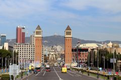 Plaça d`Espanya. Also known as Plaza de España in Spanish, is one of Barcelona`s most important squares, built on the occasion of the 1929 International Stock Image