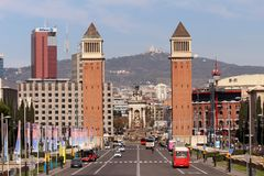 Plaça d`Espanya. Also known as Plaza de España in Spanish, is one of Barcelona`s most important squares, built on the occasion of the 1929 International Royalty Free Stock Photography
