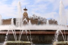 Plaça d`Espanya. Also known as Plaza de España in Spanish, is one of Barcelona`s most important squares, built on the occasion of the 1929 International Royalty Free Stock Image