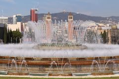 Plaça d`Espanya. Also known as Plaza de España in Spanish, is one of Barcelona`s most important squares, built on the occasion of the 1929 International Royalty Free Stock Photo
