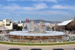 Plaça d`Espanya. Also known as Plaza de España in Spanish, is one of Barcelona`s most important squares, built on the occasion of the 1929 International Stock Photography
