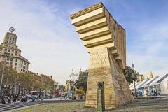 Plaça de Catalunya och monumentet till Francesc Macià i Barcelona Royaltyfria Bilder