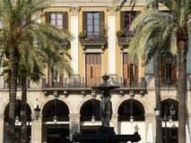 Plaça Reial, Barcelona (Spanien) Arkivfoto