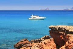 plaż najlepszy Cala Formentera śródziemnomorski saona Zdjęcia Stock