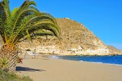 Plaża Agua Amarga w Cabo de gata Naturalnym parku, wewnątrz Zdjęcia Royalty Free