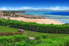 Plaża Czerwony morze i tropikalny ogród zdjęcia stock