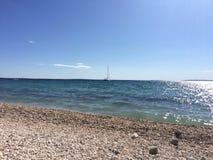 Plaża i łódź Obraz Royalty Free