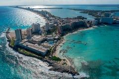 Plaża i hotele w Cancun obrazy royalty free
