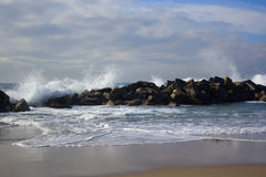 Plaża i ocean fale oceanu plażowych Fotografia Stock