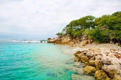Plaża i tropikalny kurort, Labadee wyspa, Haiti obrazy royalty free