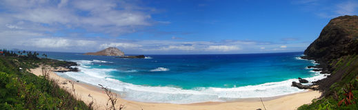 Plaża i wyspy przy Makapuu plaży parkiem, Oahu, Hawaje obraz stock
