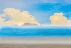 Plaża, jasny niebieskie niebo i wyspy, fotografia stock