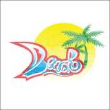 Plaża Lato koloru tekst i ilustracja wyrzucać na brzeg w postaci błękitnego seawater na i żagla zmierzch palmie i tle ilustracji