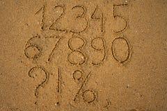 plaża liczy jeden piaskowaty dziesięć pisać Obrazy Stock