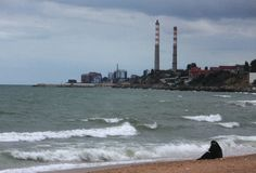 Plaża Makhachkala, republika Dagestan Fotografia Royalty Free