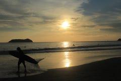 plaża na zachód słońca Obrazy Stock