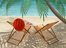 plaża przewodniczy pokład Zdjęcia Royalty Free