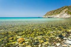 Plaża przy Giottani na zachodnim wybrzeżu nakrętka Corse Zdjęcie Stock