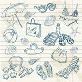 plaża rysujący ręki ikon retro ustalony lato Obrazy Stock