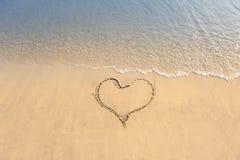 plaża rysujący serce Fotografia Royalty Free
