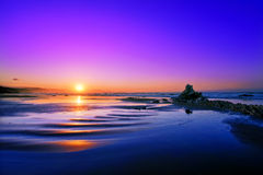 Plaża Sopelana przy zmierzchem Zdjęcie Royalty Free