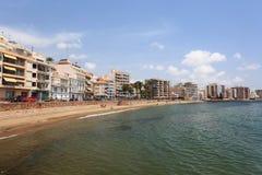 Plaża w Śródziemnomorskim grodzkim Aguilas, Hiszpania Obraz Stock
