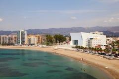 Plaża w Śródziemnomorskim grodzkim Aguilas Hiszpania Zdjęcia Stock