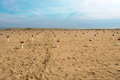 Plaża w zimie - Caorle Wenecja Włochy zdjęcia stock