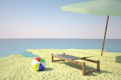 Plaża z deckchair i piłką ilustracja wektor