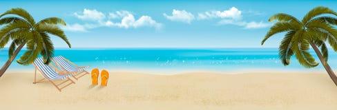 Plaża z drzewkami palmowymi i plażowym krzesłem ilustracja wektor